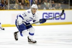 Tampa Bay Lightning left wing Jonathan Drouin plays against the Nashville Predators in the first period of an NHL hockey game Tuesday, Oct. 20, 2015, in Nashville, Tenn. (AP Photo/Mark Humphrey)