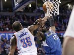 Minnesota Timberwolves forward Shabazz Muhammad (15) is fouled by Oklahoma City Thunder forward Kevin Durant (35) as he shoots during the second quarter of an NBA basketball game in Oklahoma City, Friday, Jan. 15, 2016. (AP Photo/Sue Ogrocki)