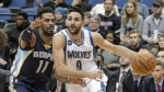 AP DO NOT REUSE-Minnesota Timberwolves guard Ricky Rubio (9) drives against Memphis Grizzlies guard Mike Conley (11) during the first half of an NBA basketball game Saturday, Jan. 23, 2016, in Minneapolis. Rubio had 15 points on the night as Minnesota won 106-101. (AP Photo/Paul Battaglia)