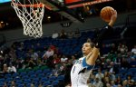 Minnesota Timberwolves' Zach LaVine plays against the Charlotte Hornets in the first quarter of an NBA basketball game, Tuesday, Nov. 10, 2015, in Minneapolis. (AP Photo/Jim Mone)