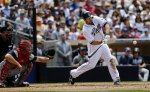 San Diego Padres' Carlos Quentin batting against the Atlanta Braves during a baseball game Wednesday, June 12, 2013, in San Diego. (AP Photo/ Lenny Ignelzi)