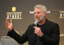 Former NFL player Brett Favre, who will be inducted into the Pro Football Hall of Fame class of 2016, speaks in the Hall of Fame press room at the the 5th annual NFL Honors at the Bill Graham Civic Auditorium on Saturday, Feb. 6, 2016, in San Francisco. (Photo by Jack Dempsey/Invision for NFL/AP Images)