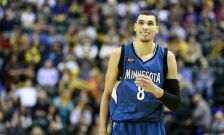 Minnesota Timberwolves guard Zach LaVine stands on the court against the Indiana Pacers in the first half of an NBA basketball game, Friday, Nov. 13, 2015, in Indianapolis. Indiana won 107-103. (AP Photo/R Brent Smith)