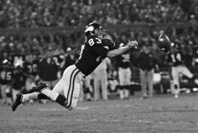 FILE - In this October 1971 file photo, Minnesota Vikings' Stu Voigt dives for a pass that fell incomplete during an NFL game against the Baltimore Colts in Minneapolis. Former Vikings tight end Voigt is charged in a federal indictment with conspiracy and fraud in an alleged Ponzi scheme, the U.S. Attorney's office said Wednesday, April 15, 2015. The government accuses Voigt, 66, and another man, Jeffrey Gardner, 61, of using a real estate scheme to defraud investors. (AP Photo/File)