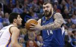 FILE - In this Jan. 15, 2016, file photo, Minnesota Timberwolves center Nikola Pekovic (14) drives past in Oklahoma City. Pekovic has been ruled out indefinitely as he recovers from right Achilles tendon surgery he underwent last April.  Pekovic has missed eight straight games with discomfort and played in only 12 games this season after having a procedure that was viewed then as a last-ditch effort to relieve chronic pain in his right foot. (AP Photo/Sue Ogrocki, File)