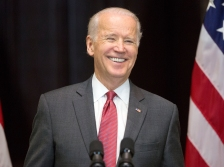 FILE- In this Dec. 14, 2015, file photo, Vice President Joe Biden smiles after speaking at an event in Washington. Biden described Bernie Sanders on Monday, Jan. 11, 2016, as more authentic on economic inequality than Hillary Clinton and defended Sanders' record on gun control during an interview with CNN. (AP Photo/Pablo Martinez Monsivais, File)