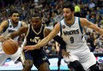 AP DO NOT REUSE Minnesota Timberwolves' Ricky Rubio (9), of Spain, guards against Utah Jazz's Shelvin Mack (8) during the first quarter of an NBA basketball game on Saturday, March 26, 2016, in Minneapolis. The Jazz won 93-84. (AP Photo/Hannah Foslien)