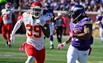 Minnesota Vikings wide receiver Jarius Wright (17) runs with his reception as he looks over his shoulder at Kansas City Chiefs free safety Husain Abdullah (39) during the first half of an NFL football game, Sunday, Oct. 18, 2015, in Minneapolis. (AP Photo/Ann Heisenfelt)