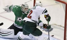 Minnesota Wild right wing Nino Niederreiter (22) scores a goal against Dallas Stars goalie Antti Niemi (31) during the third period in Game 5 of a first-round NHL hockey Stanley Cup playoff series, Friday, April 22, 2016, in Dallas. (AP Photo/LM Otero)