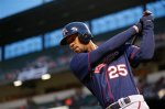 Minnesota Twins' Byron Buxton warms up during a baseball game against the Baltimore Orioles in Baltimore, Wednesday, April 6, 2016. (AP Photo/Patrick Semansky)