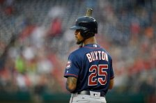 Minnesota Twins' Byron Buxton (25) looks on during the third inning of an interleague exhibition baseball game against the Washington Nationals, Friday, April 1, 2016, in Washington. The Nationals won 4-3. (AP Photo/Nick Wass)
