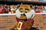 "Minnesota Gophers mascot ""Goldy Gopher"" reacts on the field during the first half an NCAA college football game against Nebraska, Saturday, Oct. 17, 2015, in Minneapolis. (AP Photo/Ann Heisenfelt)"