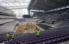 Minnesota Vikings will play its first game at U.S. Bank Stadium on August 28  (AP Photo/Jim Mone)