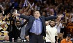 Chicago Bulls coach Tom Thibodeau reacts during the first half of Game 5 against the Cleveland Cavaliers in a second-round NBA basketball playoff series Tuesday, May 12, 2015, in Cleveland. (AP Photo/Tony Dejak)