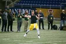 North Dakota State quarterback Carson Wentz is seen during the school's NFL football pro day, Thursday, March 24, 2016, in Fargo, N.D. (AP Photo/Bruce Crummy)