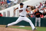Minnesota Twins relief pitcher Jose Berrios works against the Baltimore Orioles during a spring training baseball game in Fort Myers Fla., Sunday March 8, 2015. (AP Photo/Tony Gutierrez)