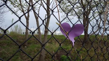 A heart along the fence outside Paisley Park. (Photo: Shaymus McLaughlin, BringMeTheNews)