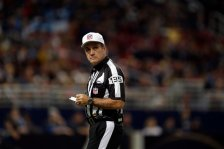Referee Pete Morelli looks to the sidelines during the first quarter of an NFL football game between the St. Louis Rams and the Tennessee Titans Sunday, Nov. 3, 2013, in St. Louis. (AP Photo/Jeff Roberson)