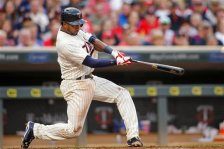Minnesota Twins shortstop Eduardo Nunez doubles against the St. Louis Cardinals during the second inning of a baseball game Wednesday, June 17, 2015, in Minneapolis. The Twins won 3-1. (AP Photo/Bruce Kluckhohn)