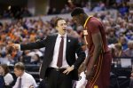Minnesota's head coach Richard Pitino talks to Gaston Diedhiou (41) in the second half of an NCAA college basketball game against Illinois at the Big Ten Conference tournament, Wednesday, March 9, 2016, in Indianapolis. Illinois won 85-52. (AP Photo/Michael Conroy)