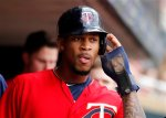 Minnesota Twins center fielder Byron Buxton bats in the seventh inning of a baseball game against the Los Angeles Angels on Sunday, April, 17, 2016 in Minneapolis. (AP Photo/Andy Clayton-King)