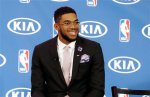 Minnesota Timberwolves' Karl-Anthony Towns waits for the start of a news conference announcing his selection as NBA basketball rookie of the year Monday, May 16, 2016, in Minneapolis. Towns was the number one overall pick in the 2015 NBA draft. (AP Photo/Jim Mone)