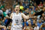 Minnesota Lynx guard Lindsay Whalen (13) talks to her teammates during the second half of the WNBA basketball Western Conference finals against the Phoenix Mercury, Thursday, Sept. 24, 2015, in Minneapolis. The Lynx won 67-60. (AP Photo/Stacy Bengs)