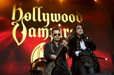 "Johnny Depp, left, and Alice Cooper, performs with their band ""Hollywood Vampires"" Wednesday, June 1, 2016 at the music venue in the former Horsens State Prison, in Horsens, Jutland, Denmark. (Claus Bonnerup/Polfoto via AP) DENMARK OUT"