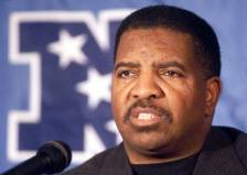 Minnesota Vikings head coach Dennis Green talks during a news conference at New York's Inter-Continental Hotel Friday, Jan. 12, 2001. The Vikings will face the New York Giants Sunday, Jan. 14, in the NFC championship. (AP Photo/Mark Lennihan)