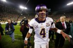 Minnesota Vikings quarterback Brett Favre walks of the field at Lambeau Field after an NFL football game against the Green Bay Packers Sunday, Oct. 24, 2010, in Green Bay, Wis. The Packers won 28-24. (AP Photo/Mike Roemer)