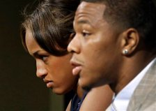 FILE - In this May 23, 2014, file photo, Janay Rice, left, looks on as her husband, Baltimore Ravens running back Ray Rice, speaks during an NFL football news conference at the team's practice facility in Owings Mills, Md. Ray Rice spoke to the media for the first time since his arrest for assaulting his fiance, now his wife, at a casino in Atlantic City, N.J.  (AP Photo/Patrick Semansky, File)