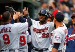 Minnesota Twins' Miguel Sano (22) celebrates his solo home run against the Detroit Tigers in the third inning of a baseball game, Monday, May 16, 2016 in Detroit. (AP Photo/Paul Sancya)