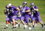 CORRECTS YEAR - Minnesota Vikings, including guard Isame Faciane (76), center John Sullivan (65) and tackle Alex Boone (75) run to their assigned area after calisthenics at NFL football minicamp Wednesday, June 15, 2016, in Eden Prairie, Minn. (AP Photo/Jim Mone)