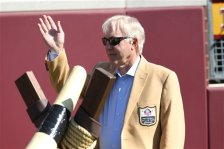 Fromer Minnesota Vikings quarterback Fran Tarkenton prepares to blow the horn  before an NFL football game against the San Diego Chargers  in Minneapolis, Sunday, Sept. 27, 2015. (AP Photo/Andy Clayton-King)
