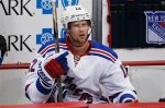 New York Rangers center Eric Staal (12) sits in the bench during an NHL hockey game against the Pittsburgh Penguins in Pittsburgh, Thursday, March 3, 2016. (AP Photo/Gene J. Puskar)