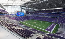 US Bank stadium and team officials hosted a media tour of the new home of the Minnesota Vikings NFL football team Tuesday, July 19, 2016, in Minneapolis. The Vikings will open their 2016 season in the $1.1 billion facility. (AP Photo/Jim Mone)