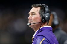 Minnesota Vikings head coach Mike Zimmer watches from the sideline in the first half of an NFL football game in New Orleans, Sunday, Sept. 21, 2014. (AP Photo/Rogelio Solis)