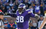 FILE-This Nov. 8, 2015, file photo shows Minnesota Vikings defensive tackle Linval Joseph  reacting after a play during the first half of an NFL football game against the St. Louis Rams,  in Minneapolis. (AP Photo/Ann Heisenfelt, File)
