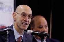 "National Basketball Association commissioner Adam Silver, addresses the media at the S.A.Y. Detroit Play Center, Monday, Jan. 18, 2016 in Detroit. The Pistons are helping support a former city of Detroit recreation center that's being revived with help from Detroit Lions quarterback Matthew Stafford and best-selling author Mitch Albom. Gores announced a $600,000 pledge over six years. The basketball court will be renovated and renamed ""Detroit Pistons Court."" (AP Photo/Carlos Osorio)"