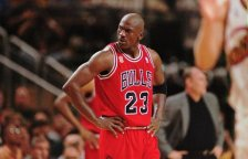 Chicago Bulls' Michael Jordan pauses in the third quarter in Game 5 of the NBA Finals against the Seattle SuperSonics Friday, June 14, 1996 in Seattle. The Sonics beat the Bulls, 89-78. (AP Photo/Beth A. Keiser)