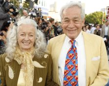 "Actors Jack Larson, right, and Noel Neill pose together at the film premiere of ""Superman Returns"" in the Westwood section of  Los Angeles, on Wednesday, June 21, 2006. Larson and Neill are  the original Jimmy Olsen and the second Lois Lane from the ""Superman"" TV series. (AP Photo/Matt Sayles)"