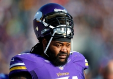 Minnesota Vikings tackle Phil Loadholt (71) watches his team play the Washington Redskins during an NFL football game, Sunday, Nov. 2, 2014, in Minneapolis. (Jeff Haynes/AP Images for Panini)
