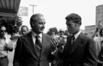 Presidential candidate Sen. George McGovern and Minnesota Gov. Wendell Anderson stop at Shakopee, Minnesota on Monday, Sept. 12, 1972, for and ice cream cone while on their way to the Farmfest USA at Vernon Center, Minn., where McGovern made a campaign visit. (AP Photo)