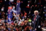 Confetti and balloons fall during celebrations after Republican presidential candidate Donald Trump's acceptance speech on the final day of the Republican National Convention in Cleveland, Thursday, July 21, 2016. (AP Photo/Matt Rourke)