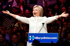 Democratic presidential candidate Hillary Clinton gestures as she greets supporters at a presidential primary election night rally, Tuesday, June 7, 2016, in New York. (AP Photo/Julio Cortez)