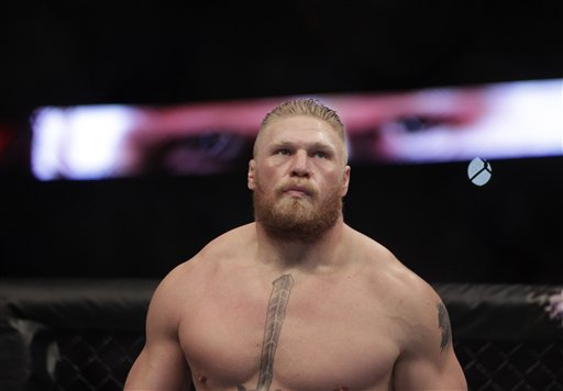 Brock Lesnar during a UFC mixed martial arts match with Cain Velasquez in Anaheim Calif. Saturday Oct. 23 2010. Velasquez won by TKO in the first round