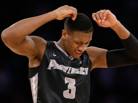 Providence guard Kris Dunn (3) reacts after a turnover in the second half of an NCAA college basketball game against Villanova during the semifinals of the Big East men's tournament, Friday, March 11, 2016, in New York. Villanova won 76-68. (AP Photo/Julie Jacobson)