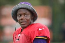 Minnesota Vikings quarterback Teddy Bridgewater walks the field following a joint NFL football practice with the Cincinnati Bengals, Thursday, Aug. 11, 2016, in Cincinnati. (AP Photo/John Minchillo)