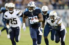 Tennessee Titans running back DeMarco Murray (29) runs past San Diego Chargers defensive back Darrell Stuckey (25) and San Diego Chargers cornerback Craig Mager (29) during the first half of an NFL preseason football game, Saturday, Aug. 13, 2016, in Nashville, Tenn. Murray ran 71-yards for a touchdown. (AP Photo/Mark Zaleski)