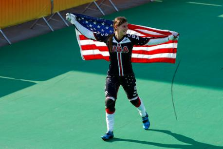 Alise Post of the United States celebrates after placing second in the women's BMX cycling final during the 2016 Olympic Games in Rio de Janeiro, Brazil, Friday, Aug. 19, 2016. (AP Photo/Patrick Semansky)